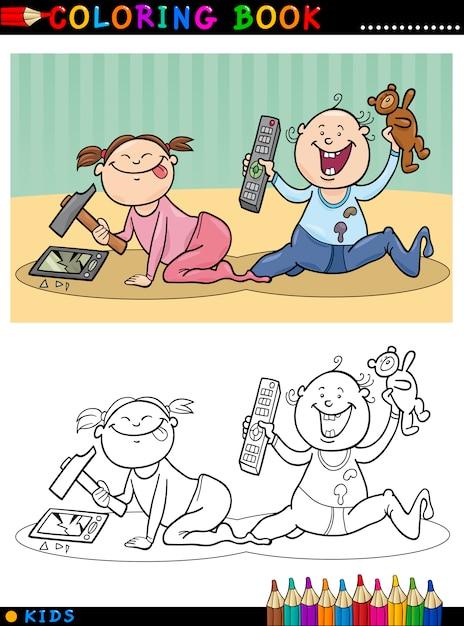 De Animados Bebés ColorearDescargar Lindos Para Dibujos Vectores tsChQdrx