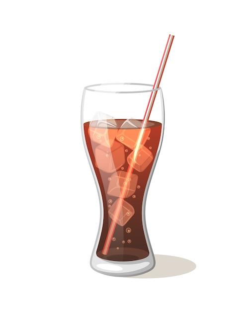 Bebida de cola en un vaso con hielo con palos Vector Premium