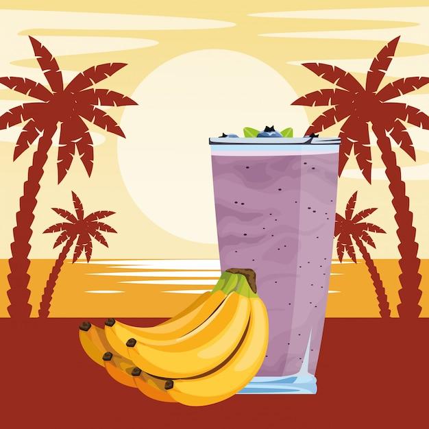 Bebida de frutas tropicales y batidos. vector gratuito