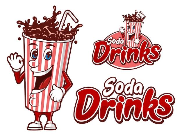 Bebida gaseosa en un vaso de papel, plantilla de logotipo con personaje divertido Vector Premium