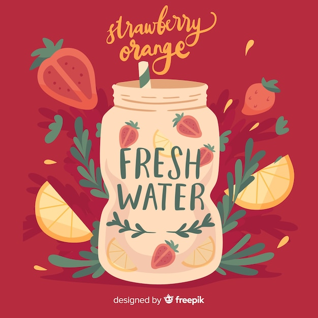 Bebida veraniega refrescante dibujada vector gratuito