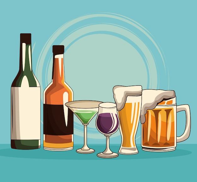 Bebidas alcohólicas aisladas Vector Premium