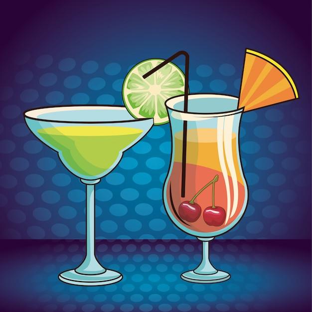 Bebidas alcohólicas bebidas cartoon Vector Premium
