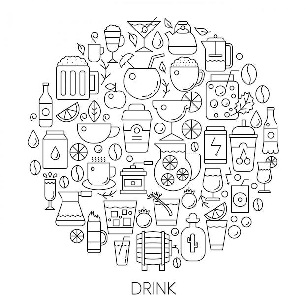 Bebidas infografía línea emblema. Vector Premium