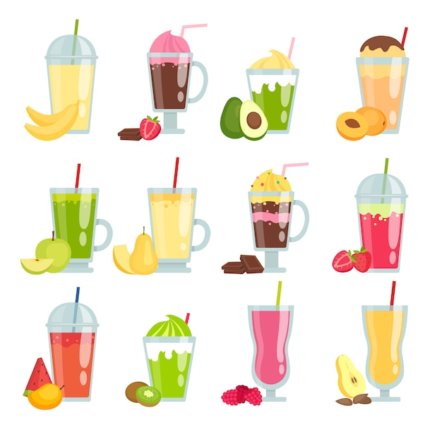 Bebidas de verano batido. varios jugos de frutas y batidos Vector Premium
