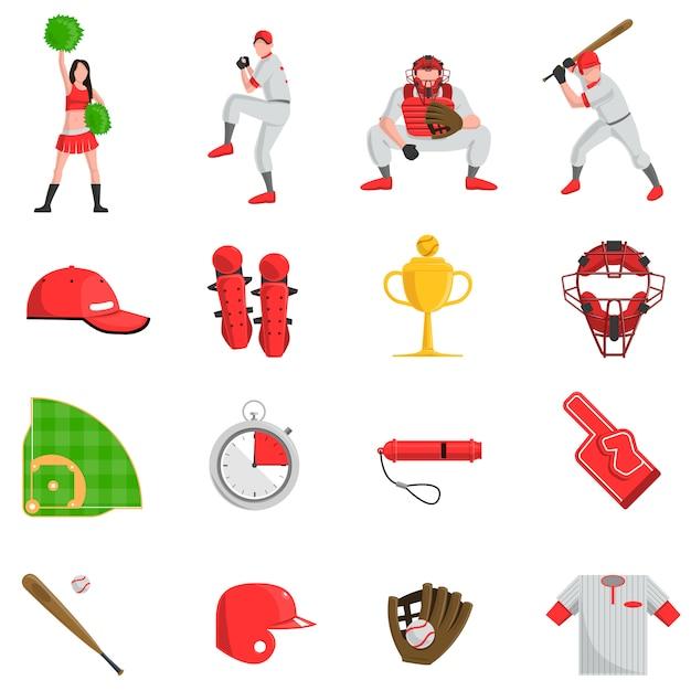 Béisbol conjunto plano vector gratuito