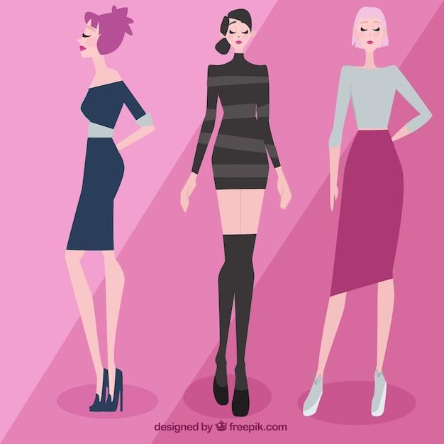 Bellas modelos con ropa elegante vector gratuito