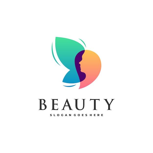 Belleza abstracta mujer y mariposa Vector Premium