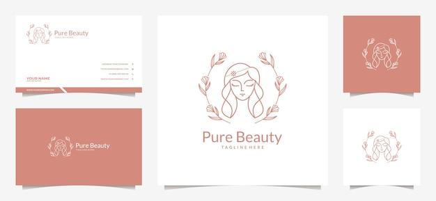 Belleza mujer cabello logo y tarjeta de visita Vector Premium