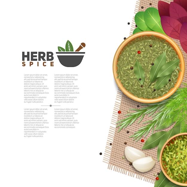 Beneficios de hierbas y especias en la cocina cartel informativo con mortero de texto y una mano vector gratuito