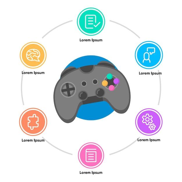 Beneficios de jugar infografía de videojuegos vector gratuito