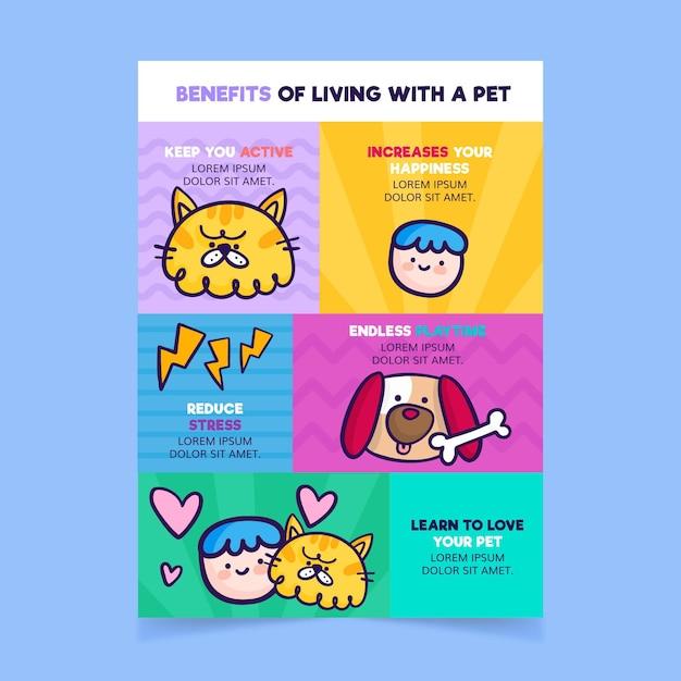 Beneficios de vivir con una plantilla para mascotas vector gratuito