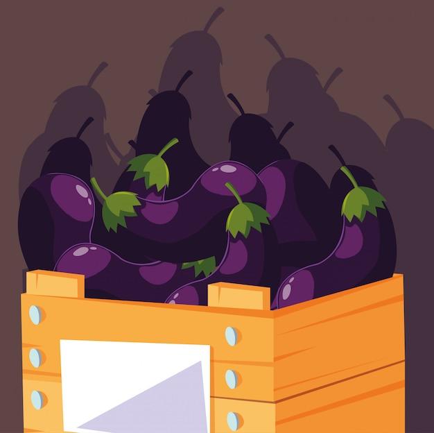 Berenjenas frescas vegetales en caja de madera Vector Premium