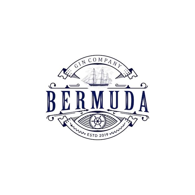 Bermuda ship vintage logo Vector Premium