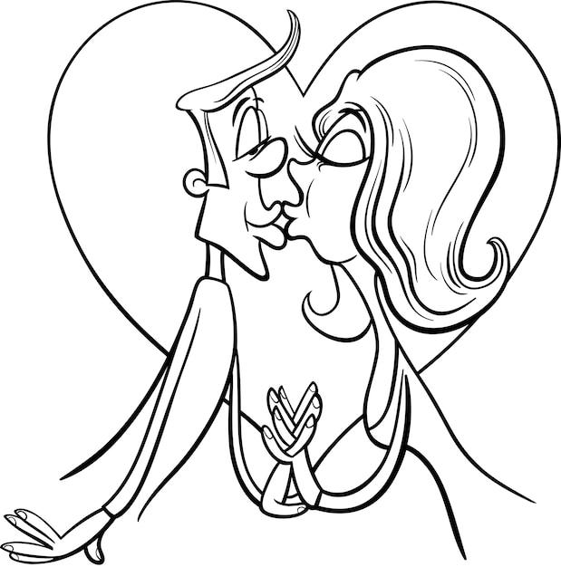 Besos pareja en amor para colorear | Descargar Vectores Premium