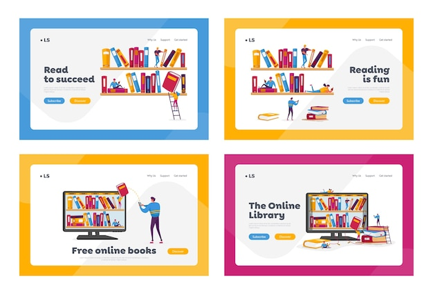 Biblioteca, conjunto de plantillas de página de destino de archivo multimedia. Vector Premium