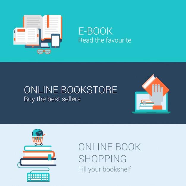 Biblioteca de libros en línea lector de libros electrónicos concepto de compras en línea librería iconos planos ilustración conjunto. vector gratuito