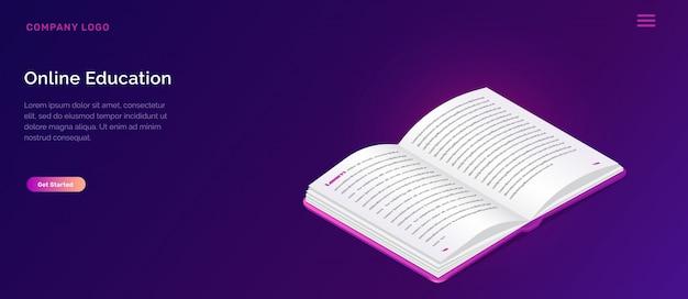 Biblioteca en línea o concepto isométrico educativo vector gratuito