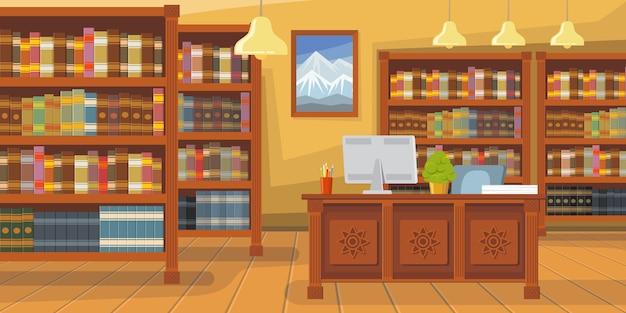 Biblioteca moderna con ilustración de estantería vector gratuito