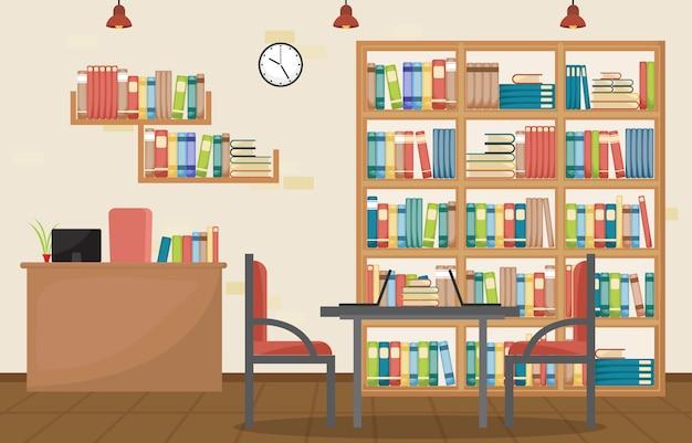 Biblioteca pública interior pila de libro en estantería plana Vector Premium