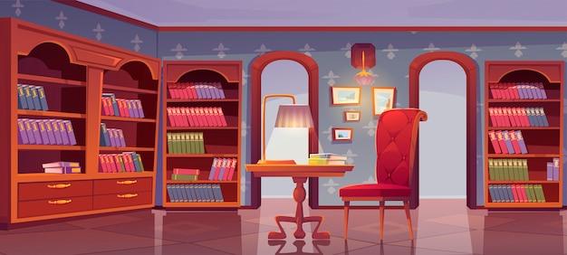 Biblioteca vip, interior de lujo, sala de lectura vacía. vector gratuito