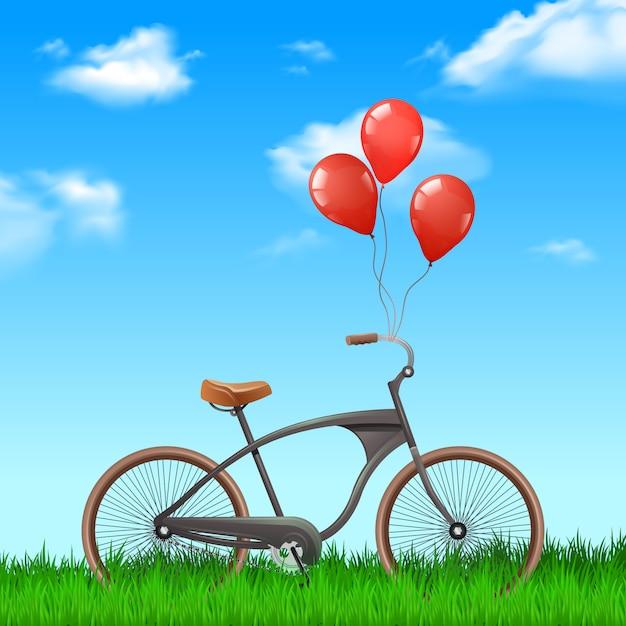Bicicleta realista con globos rojos sobre fondo de naturaleza vector gratuito
