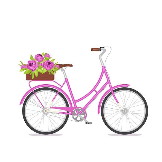 Bicicleta retra púrpura con el ramo en caja floral en tronco. Vector Premium