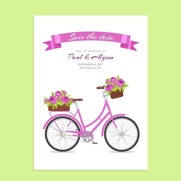 Bicicleta retra púrpura con el ramo en cesta y caja florales en tronco. Vector Premium