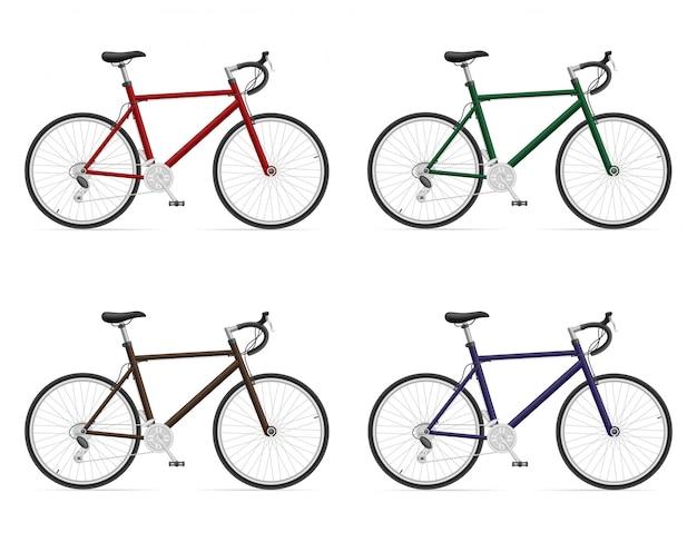 Bicicletas de carretera con cambio de marchas. Vector Premium