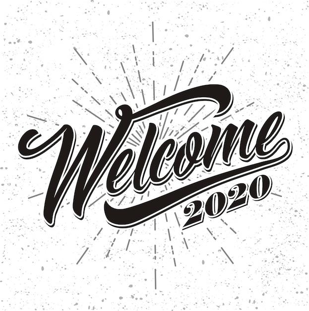 Bienvenida 2020 sobre fondo de rayos Vector Premium