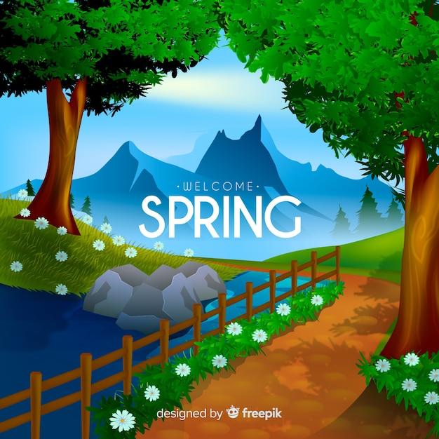 Bienvenida a la primavera vector gratuito