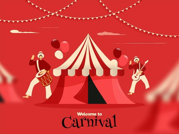 Bienvenido al cartel del carnaval. Vector Premium