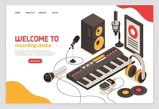 Bienvenido al póster del estudio de grabación con instrumentos musicales, micrófonos, auriculares, amplificador, disco compacto, iconos isométricos vector gratuito