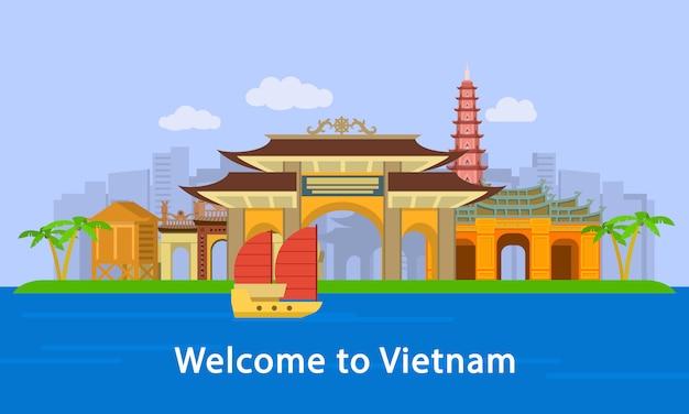 Bienvenido a banner de concepto de ubicación de vietnam, estilo plano Vector Premium