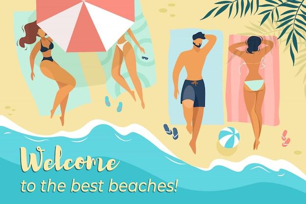 Bienvenido a best beaches horizontal banner, personajes masculinos y femeninos jóvenes que se relajan bajo el sol Vector Premium