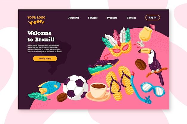Bienvenido a la colorida página de aterrizaje de brasil vector gratuito