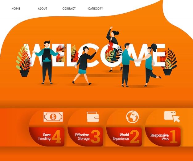 Bienvenido concepto de página de destino naranja Vector Premium