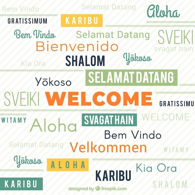 Bienvenido En Diferentes Idiomas Vector Gratis