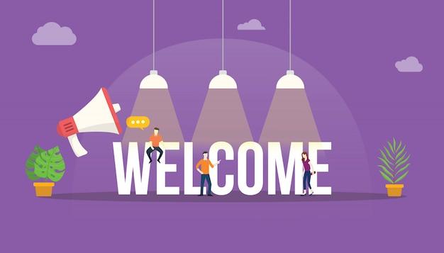 Bienvenido gran palabra texto Vector Premium