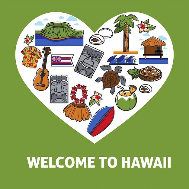 Bienvenido a hawaii banner promocional con símbolos nacionales Vector Premium
