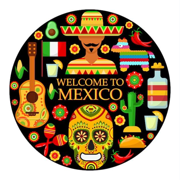 Bienvenido a mexico. coloridos atributos tradicionales mexicanos. ilustración vectorial Vector Premium