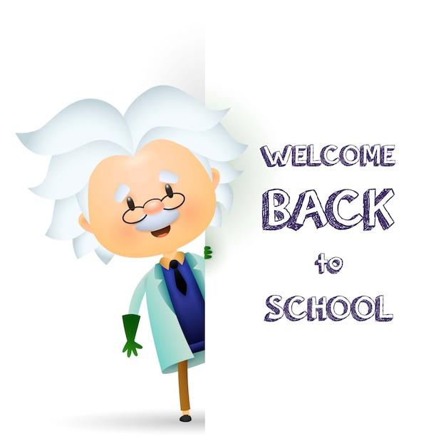 Bienvenido de nuevo a la escuela de diseño. profesor mayor personaje vector gratuito