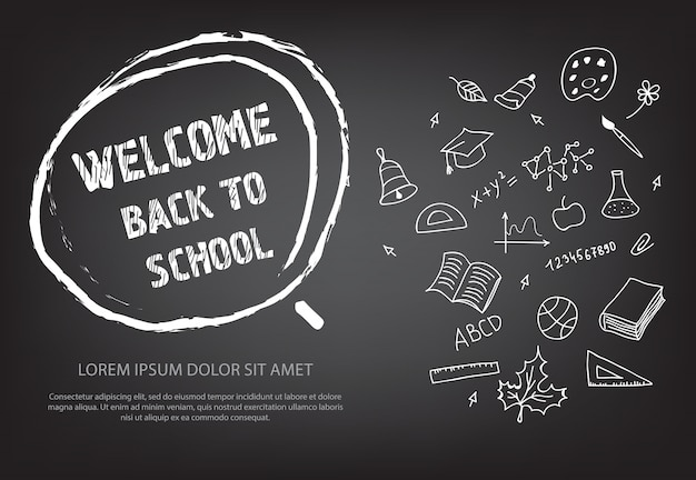 Bienvenido de nuevo a las letras de la escuela en círculo de tiza dibujado a mano vector gratuito
