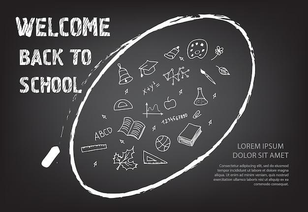 Bienvenido de nuevo a las letras de la escuela y garabatos en tiza ovalada vector gratuito
