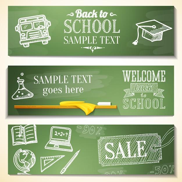 Bienvenido de nuevo a los mensajes de la escuela en la pizarra. dibujos: globo, cuaderno, libro, gorro de graduación, autobús, bombilla de ciencias. Vector Premium