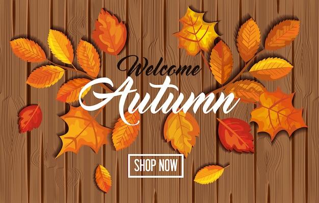 Bienvenido otoño con hojas en banner de madera vector gratuito