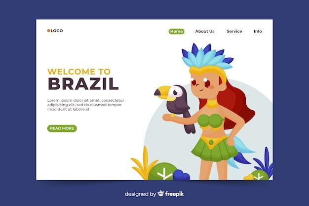 Bienvenido a la página de aterrizaje de brasil vector gratuito