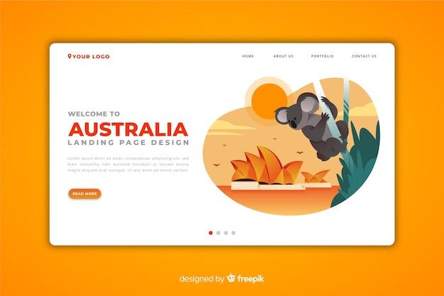 Bienvenido a la página de destino de australia vector gratuito