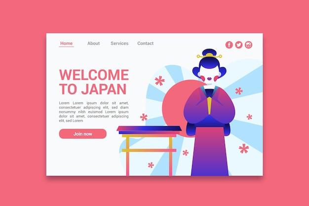 Bienvenido a la página de inicio de japón vector gratuito