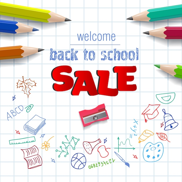 Bienvenido, regreso a la escuela, letras de venta en papel cuadriculado vector gratuito